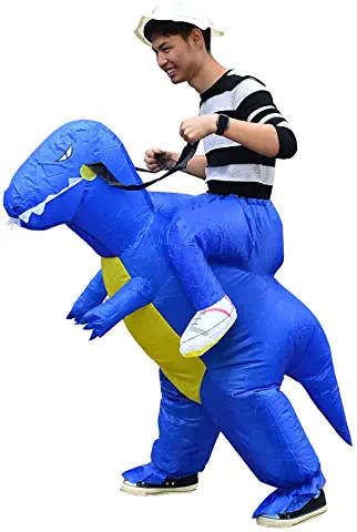 BLUE Mens Inflatable Costume Boys Ride Dinosaur Blow up Halloween Christmas Cosplay Fancy Dress