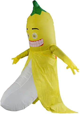 Funny Banana Inflatable Costume Fruit Blow up Costume for Halloween Cosplay Party Christmas Adult Fancy Dress Inflatable Costume Yellow