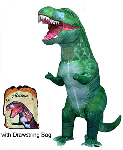 GREEN Inflatable Dinosaur Costume Blow up T-REX Costume Adult Size Halloween Party Fancy Dress Funny Cosplay Jumpsuit