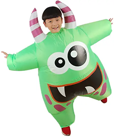 Inflatable Swamp Monster Scary Green Mouth Monster Deluxe Costume