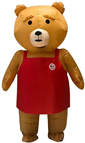 Mascot Inflatable Costume Lovely Brown Teddy Bear, Purim Christmas Halloween Carnaval Anime Cosplay for Adult