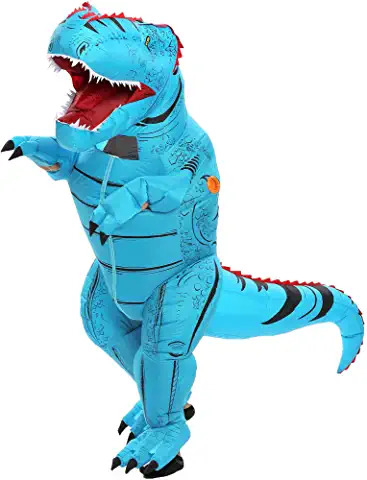 New Inflatable Dinosaur BLUE Costume T Rex FOR ADULTS