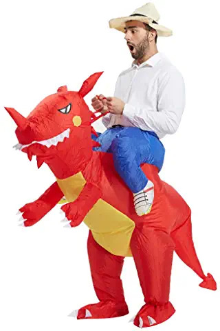 RED Inflatable Dinosaur T-REX Blow Up Costume