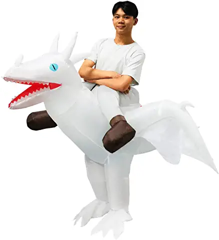 White riding inflatable dragon costume