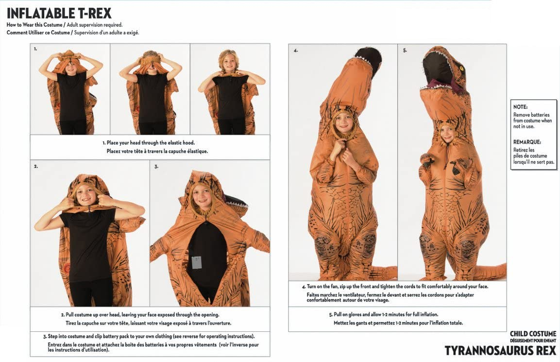 how to wear an inflatable dinosaur costume