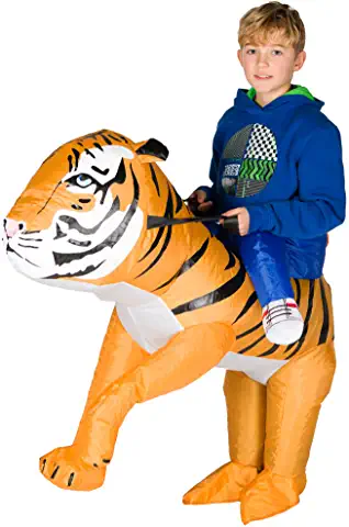 kid riding tiger inflatable costume