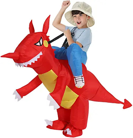 kids red ride on inflatable dinosaur costume