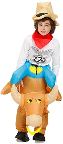kids riding bull inflatable costume